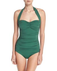 Norma Kamali - Bill Mio Solid Shirred One-piece Swimsuit - Lyst