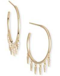 Sydney Evan 14k Medium Diamond Fringe Hoop Earrings - Metallic