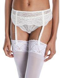 Simone Perele Eden Lace Suspenders Garter Belt - White