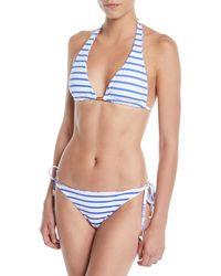 Letarte - Reversible Elephant/stripes Triangle Bikini Top - Lyst