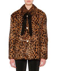 Miu Miu Bow-detail Button-front Leopard-print Rabbit Fur Coat - Brown