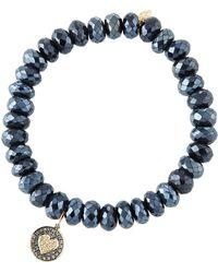 Sydney Evan - 14k Diamond Heart & Spinel Bracelet - Lyst