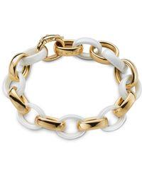 Monica Rich Kosann - Yellow Gold & White Ceramic Link Bracelet - Lyst