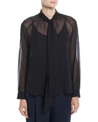 Max Mara - Tago Tie-neck Long-sleeve Dot-print Silk Blouse - Lyst