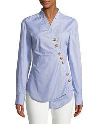 Tibi - Jones Asymmetric Striped Cotton Shirt - Lyst