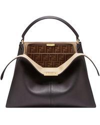 Fendi Peekaboo X-lite Soft Calf Satchel Bag With Ff Interior - Black