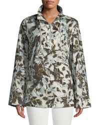Lafayette 148 New York - Baylor Long-sleeve Excursion Palm Tech-cloth Topper - Lyst