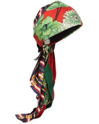 Gucci - GG Belts & Spring Bouquet Printed Silk Twill Turban - Lyst