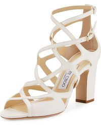 Jimmy Choo Dillan Leather Block-heel Sandal - White