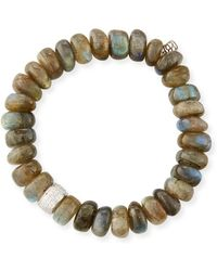 Sydney Evan - 9mm Labradorite Beaded Bracelet With Diamond Spacer Bead - Lyst