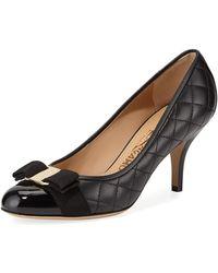 Ferragamo Carla Q Patent Vara Bow Pumps - Black