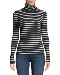 Michael Kors - Long-sleeve Striped Turtleneck Top - Lyst