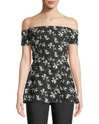 Lela Rose - Off-the-shoulder Floral-embroidered Top With Bow Back - Lyst