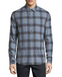 Vince Shadow Plaid Long-sleeve Shirt - Blue