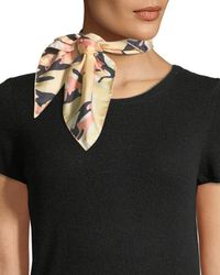 Jane Carr Camouflage Silk Twill Neckerchief - Black