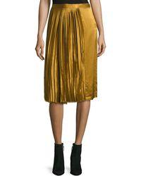 Public School - Gamil Pleated Sateen Silk Midi Skirt - Lyst