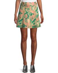 Chufy Desta Animal-print Linen Mini Skirt - Green