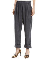 Brunello Cucinelli - Wide-leg Metallic Donnegal Pants W/ Pleats - Lyst