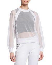 BLANC NOIR - Irie Cropped Mesh Sweatshirt - Lyst