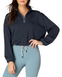 Beyond Yoga By Request Cropped Half-zip Pullover - Blue