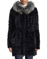 Belle Fare - Reversible Knit & Fur Jacket W/ Trim - Lyst