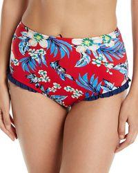 Diane von Furstenberg - Cheeky Floral Ruffle High-waist Bikini Bottom - Lyst