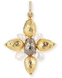 Grazia And Marica Vozza Yellow Golden Cross Nugget Charm With Pearls - Metallic