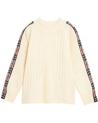 Burberry - Cathie Knit Sweater W/ Check Down Sleeves - Lyst