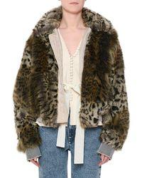 Stella McCartney - Animal-print Faux-fur Short Coat - Lyst