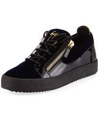 1b2db29fe2b3b Giuseppe Zanotti - Men's Velvet & Patent Leather Low-top Sneakers - Lyst