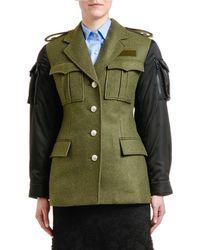 Prada Nylon-sleeve Military Coat - Green