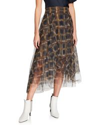 Brunello Cucinelli Checked Tulle Skirt - Brown