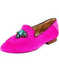 Figue - Milky Embellished Fur Loafers - Lyst