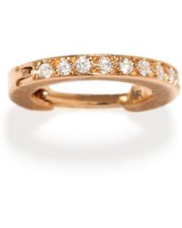Repossi - Mini Half Pavé Diamond Single Hoop Earring In 18k Gold - Lyst