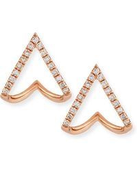 EF Collection - 14k Gold Mini Chevron Wrap Stud Earrings With Diamonds - Lyst