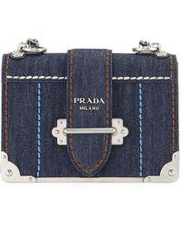 16b49d948f7a Prada - Cahier Large Denim Crossbody Bag - Lyst