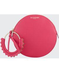Sara Battaglia Helen Round Leather Wristlet Bag - Pink