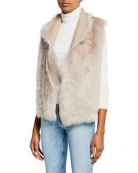 Gushlow and Cole Down Reversible Rough Cut Sheepskin Vest - Natural