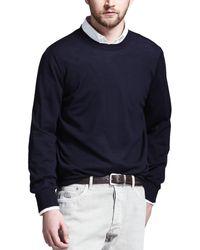 Brunello Cucinelli Fine-gauge Knit Elbow-patch Jumper - Natural