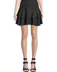 Alice + Olivia Paloma Pinstripe Ruffle Skirt - Black