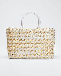 Nancy Gonzalez Medium Woven Python Tote Bag - Metallic