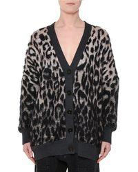 Stella McCartney - V-neck Button-front Oversized Leopard-print Cardigan - Lyst