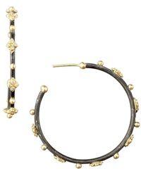 Armenta Diamond Cravelli Cross Small Hoop Earrings - Black