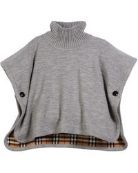 Burberry Girls' Beatrix Turtleneck Wool Cape W/ Check Interior - Gray