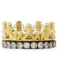 Armenta 18k Gold & Midnight Diamond Crown Ring - Metallic