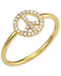 Sydney Evan - 14k Gold Diamond Peace Sign Ring - Lyst