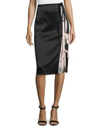 T By Alexander Wang - Heavy Draped Satin Skirt With Stripe Combo - Lyst