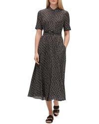 Lafayette 148 New York - Augustine Belted Geo Print Shirt Dress - Lyst