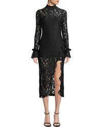Alexis - Fala Lace Long-sleeve Front-slit Cocktail Dress - Lyst