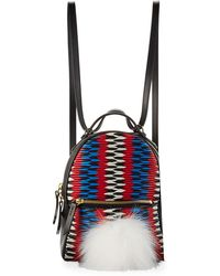 Les Petits Joueurs - Baby Mick Chevron Backpack With Fur - Lyst